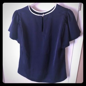 Navy blue drape top with keyhole